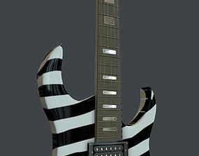 3D model zebra elecra guitar