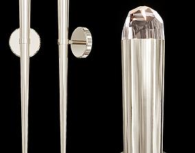3D Restoration Hardware AQUITAINE TORCH SCONCE Nickel