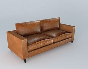 3D HENRY brown leather sofa