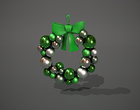 3D asset Green and Silver Christmas Bauble Wreath
