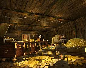 The cabin of a pirate ship treasure 3D model