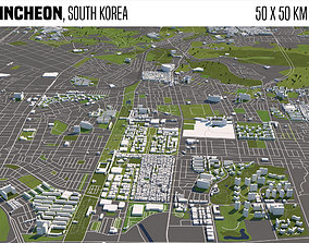3D model Incheon South Korea 50x50km