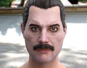 game-ready The 3d model of Freddie Mercury singer head