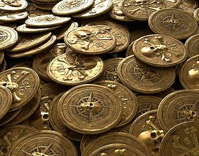 Pirate Gold Coin and Stack 3D model