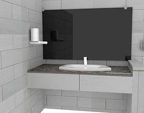 3D model Washroom assets low poly