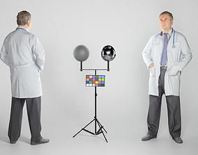 3D model Middle aged male doctor standing 254
