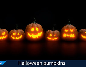 3D asset Halloween pumpkins set