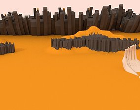 Low Poly Apocalyptic Desert Pack 3D asset