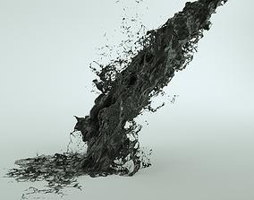 3D Black Fluid Abstract