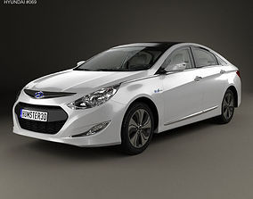 Hyundai Sonata YF hybrid with HQ interior 2015 3D model