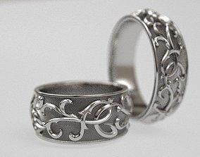 3D print model Thistle wide wedding ring - original