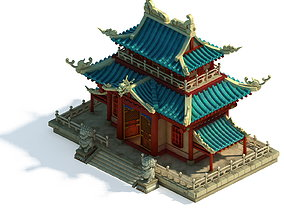 rope 3D model Volcano Hill - Palace Architecture 02
