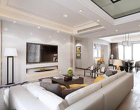 3D model of modern European style living room coffee