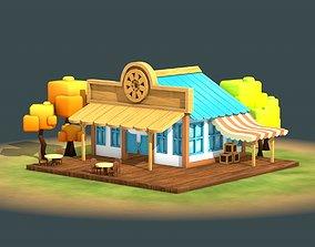 3D asset Stylized Cartoon Cafe