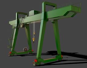 3D asset PBR Double Girder Gantry Crane V1 - Green