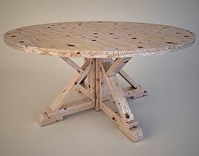 Round Farmhouse Table 3D model