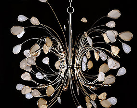 3D Agate and Nickel 16-Light Chandelier