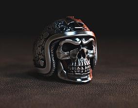 ring skull in a hard hat biker 3D model