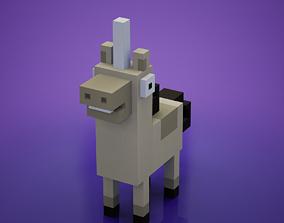 Voxel - White Unicorn 3D asset