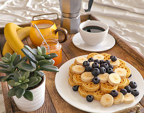 3D berry Breakfast in bed