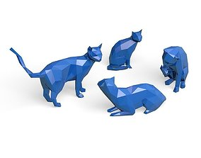 set of cats lowPoly 3D printable model