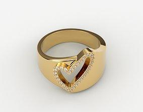 Women ring heart with gems 3dm stl
