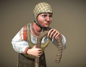 3D asset Peasant Villager Old Woman