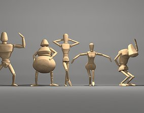 3D model motion capture wooden character