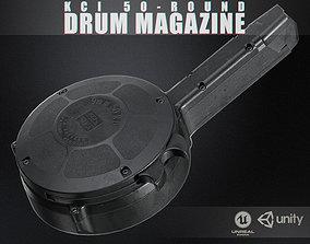 KCI 50-Round Drum Magazine 9mm 3D asset
