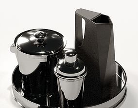 3D model Tray with pitcher and shaker