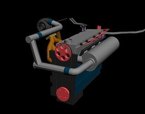 3D model Turbo engine low polly