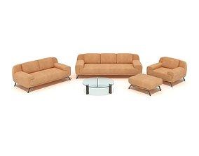 3D model Orange Couch Set