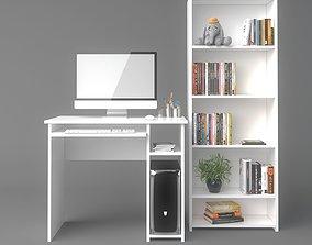 Computer Desk and Bookshelf 3D