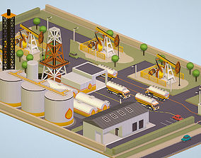 Isometric set representing oil field extracting 3D asset 1