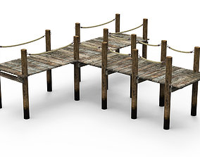 Wooden pier stage 3D