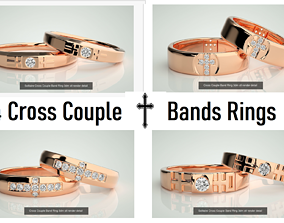 4 Cross Diamond Couple Bands 3dm stl renders Details