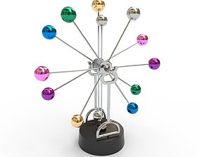 3D asset Newton pendulum creative rotating multi-colored 1