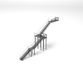 3D model Simple metallic stairs