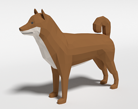 3D asset Low Poly Cartoon Shiba Inu Dog