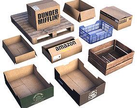 3D asset Box set LOW POLY