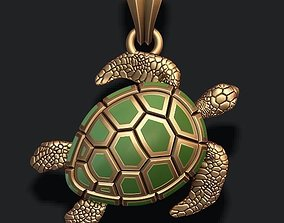 3D print model jewelry turtle pendant with enamel