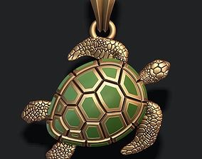 3D print model turtle pendant with enamel