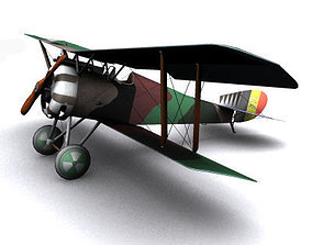 Hanriot HD1 fighter WW1 low-poly 3D asset