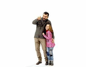 Man Showing Something to Little Girl 3D model