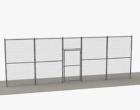 3D Chain Link Fence and Gate