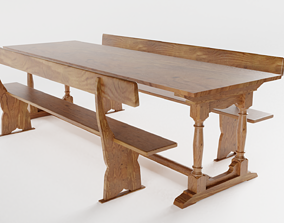Vintage School Refectory Table with Benches 3D