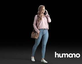 Humano Casual Woman Walking with a bag and 3D model 1