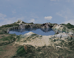 eruption Lake Landscape - Mount Mazama 3D model