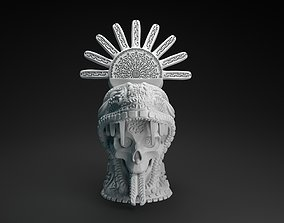 Aztec decorated skull intended for 3D printing