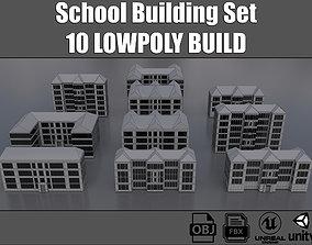 3D asset School Building Collection
